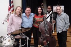 Maria Martinez (drums), Dr. Bobby Rodriguez (group leader & trumpet) Leslie Baker (bass), Andre Delano (saxophone) & Oscar Hernandez (piano). Photo: Greg Lloyd